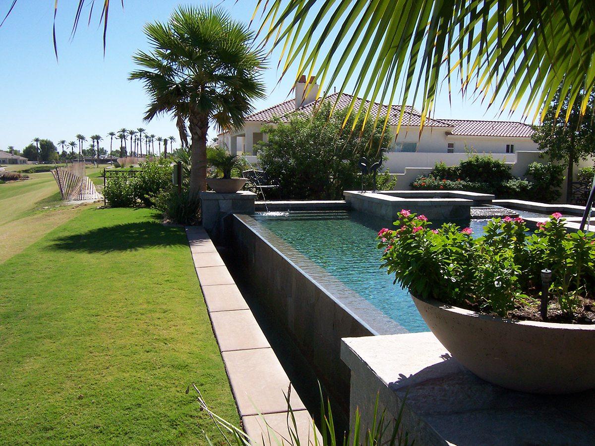 pools and spas infinity edge teserra outdoors palm springs ca